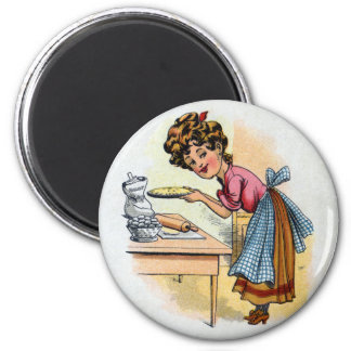 Woman Baking Pies 2 Inch Round Magnet