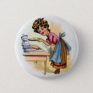 Woman Baking Pies Pinback Button