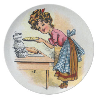 Woman Baking Pies Dinner Plates