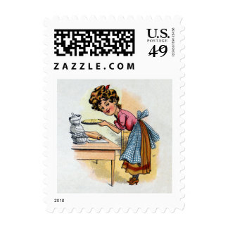 Woman Baking Pies Stamps