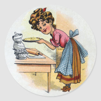 Woman Baking Pies Round Stickers