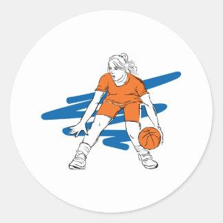 woman basketbal player classic round sticker
