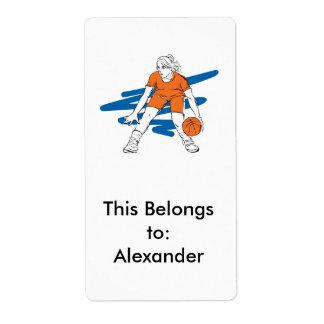 woman basketbal player label