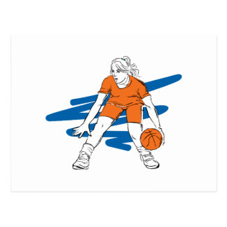 woman basketbal player postcard