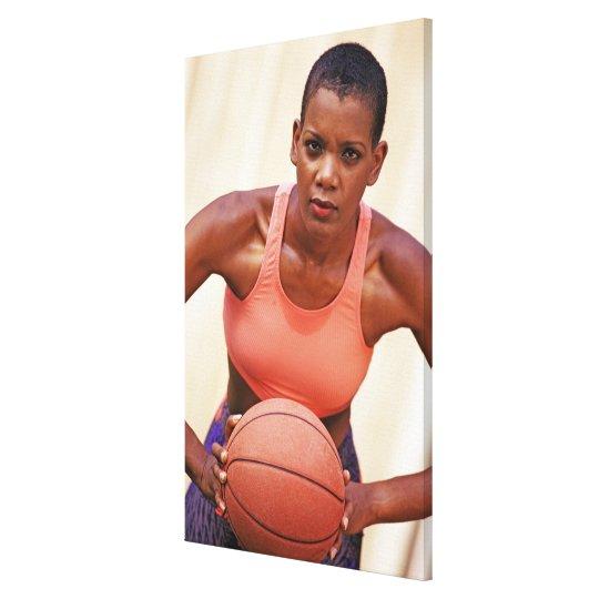 Woman basketball player canvas print