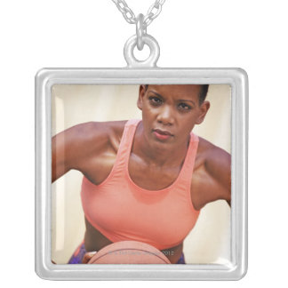 Woman basketball player silver plated necklace