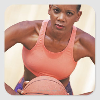 Woman basketball player square sticker