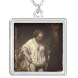Woman Bathing in a Stream, 1654 Square Pendant Necklace