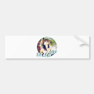 Woman beach girl relaxing vacation bumper sticker