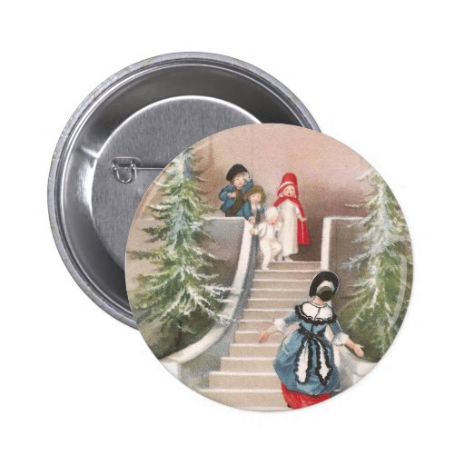 Woman Beckons Children Vintage Christmas Button