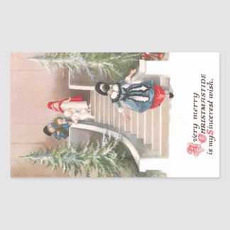 Woman Beckons Children Vintage Christmas Rectangular Sticker