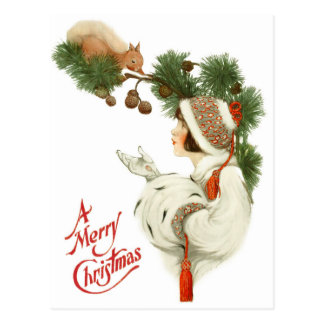 Woman Befriends Squirrel at Christmas Time Postcard