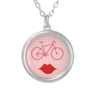 woman bike mouth | bike-inspired silver plated necklace