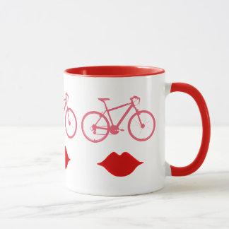 woman bike mouth mug