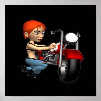 Woman Biker 2 Print