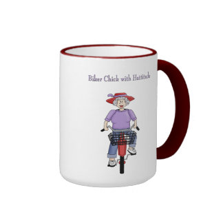 Woman Biker Chick With Hattitude Coffee Cup