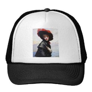 Woman Black Hat Fashion Painting