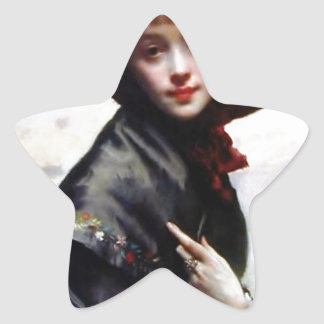 Woman Black Hat Fashion Painting Star Sticker