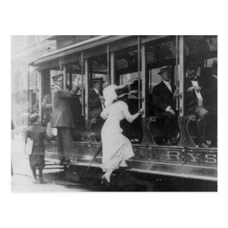 Woman boarding NYC streetcar Postcard