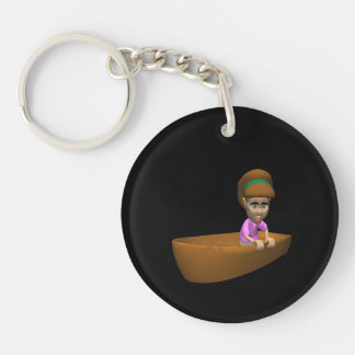 Woman Boater Keychain