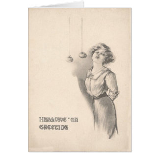 Woman Bobbing For Apples Black And White Card