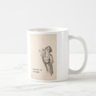 Woman Bobbing For Apples Black And White Coffee Mug