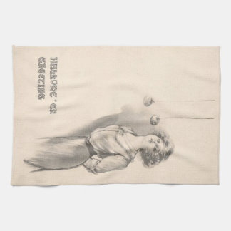 Woman Bobbing For Apples Black And White Hand Towel
