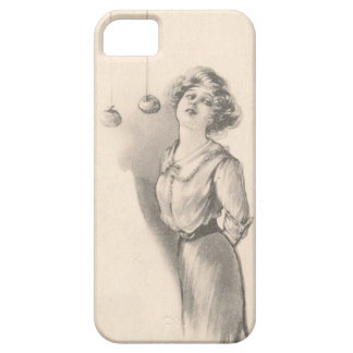 Woman Bobbing For Apples Black And White iPhone SE/5/5s Case