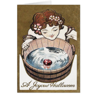 Woman Bobbing For Apples Halloween Party Card
