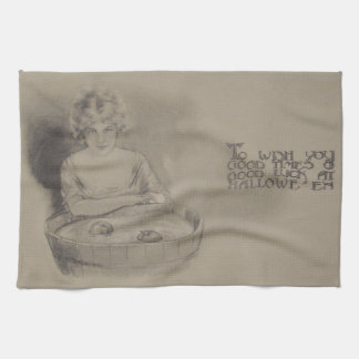 Woman Bobbing For Apples Halloween Party Hand Towel
