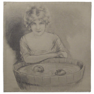 Woman Bobbing For Apples Halloween Party Napkin