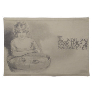 Woman Bobbing For Apples Halloween Party Placemat