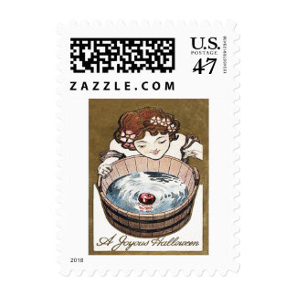 Woman Bobbing For Apples Halloween Party Postage Stamp