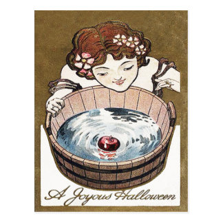 Woman Bobbing For Apples Halloween Party Postcard