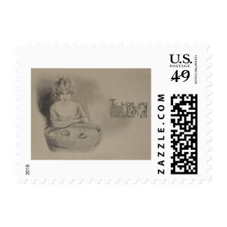 Woman Bobbing For Apples Halloween Party Stamp