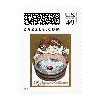 Woman Bobbing For Apples Halloween Party Stamps