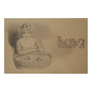 Woman Bobbing For Apples Halloween Party Wood Wall Art