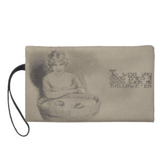 Woman Bobbing For Apples Halloween Party Wristlet