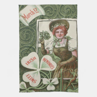 Woman Bouquet Shamrocks Shamrock Harp Kitchen Towel