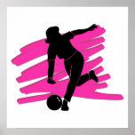 woman bowler bowling silhouette poster
