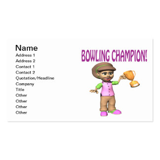 Woman Bowling Champion Business Cards