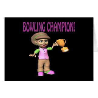 Woman Bowling Champion Card