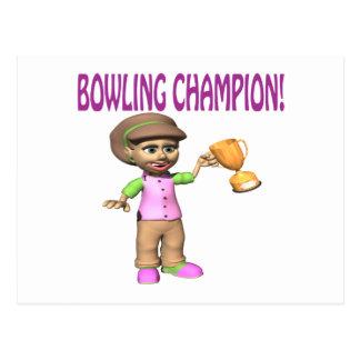 Woman Bowling Champion Postcard
