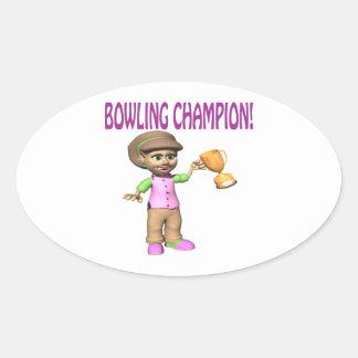 Woman Bowling Champion Oval Sticker