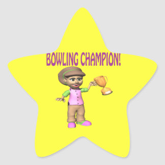 Woman Bowling Champion Star Sticker