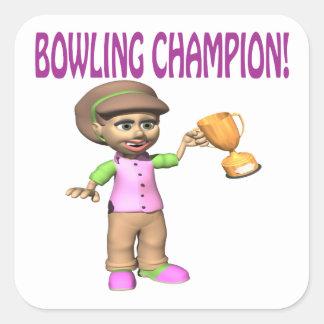 Woman Bowling Champion Square Sticker