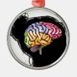 Woman brain concept round metal christmas ornament