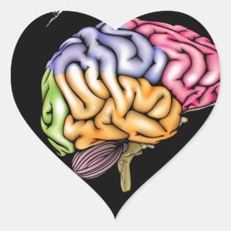 Woman brain concept heart sticker