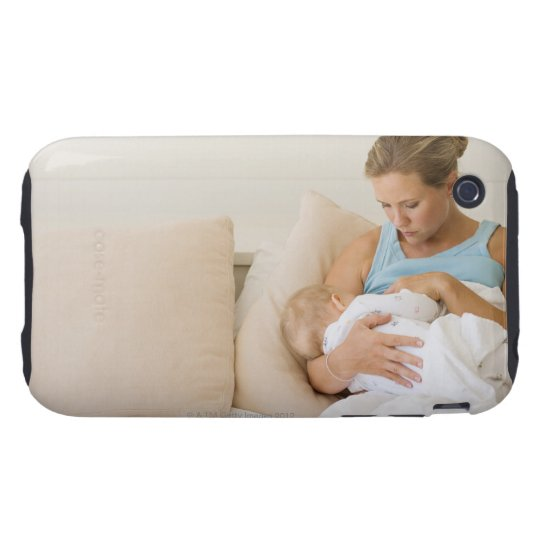Woman breastfeeding baby tough iPhone 3 cover