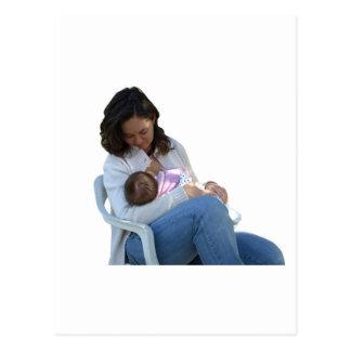 Woman breastfeeding post card
